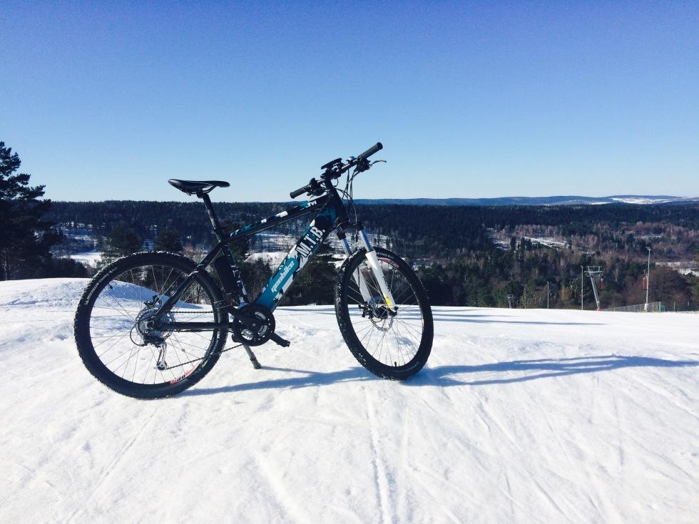 Rower elektryczny zimą